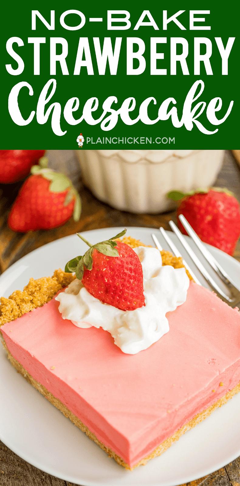 No Bake Strawberry Cheesecake Recipe Graham Cracker Crust Light And Fluffy No Bake C Baked Strawberries Evaporated Milk Recipes Strawberry Cheesecake Recipe