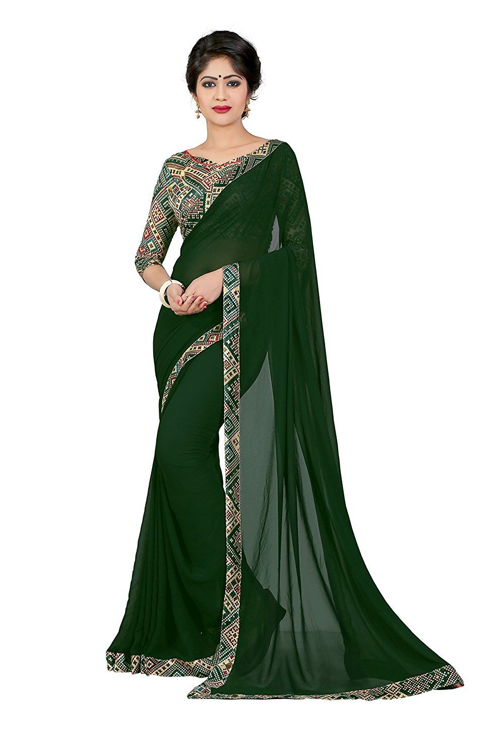 31f7b6f832184b Georgette Plain Saree - Pine Green: Amazon.in: Clothing & Accessories
