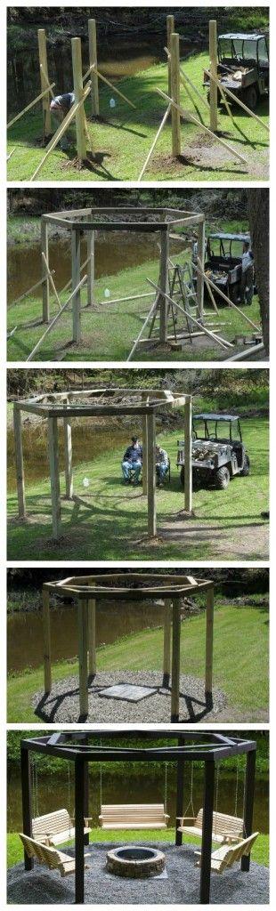 DIY - Backyard Swings Around the Campfire.