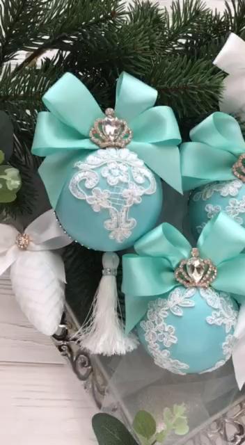 Photo of Christmas Ornaments Set Tiffany Christmas Ornament Turquoise Christmas ornaments Elegant Tiffany