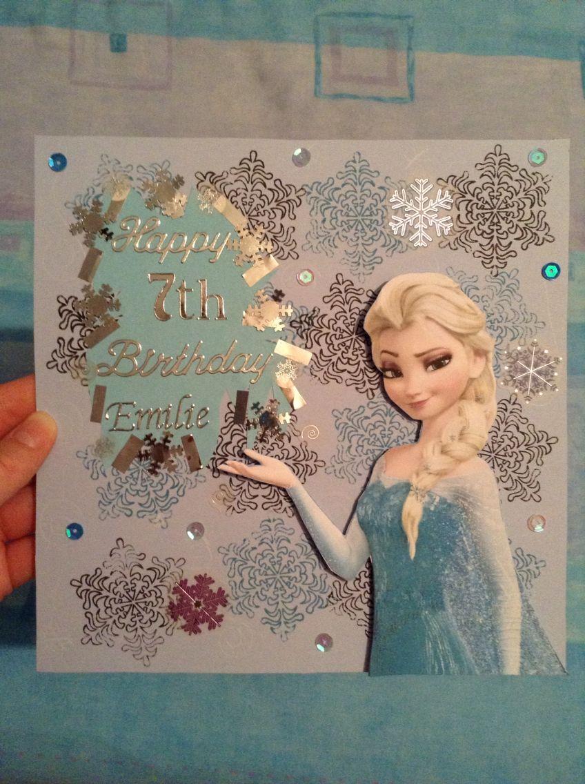 Handmade Frozen Birthday Card Elsa Disney Blue Art Frozen Birthday Cards Cricut Birthday Cards Kids Birthday Cards
