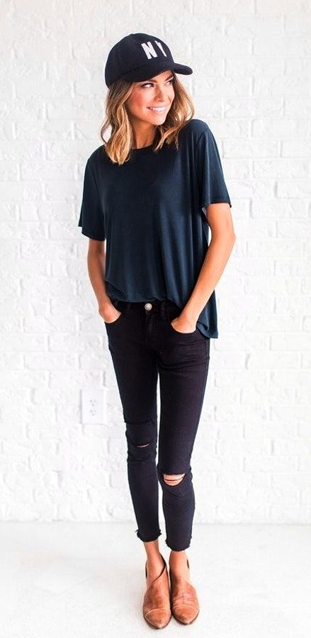 aea34e951c3 Summer  Outfits   Navy Blue Shirt + Black Ripped Skinny Pants