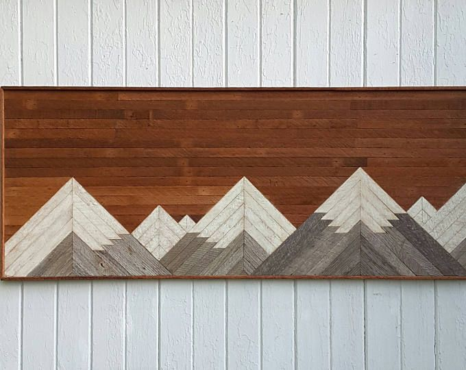 Reclaimed Wood Wall Art Large Mountain Queen Headboard Lath Art 60 By 28 Shabby Chic Decor Geometric Art Mo Large Wood Wall Art Lath Art Wood Lath Art