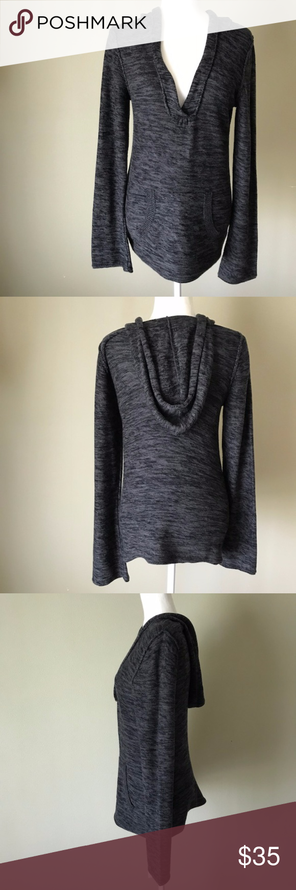 Roxy Black Gray Hooded Sweater sz Large | Hooded sweater, Roxy and ...