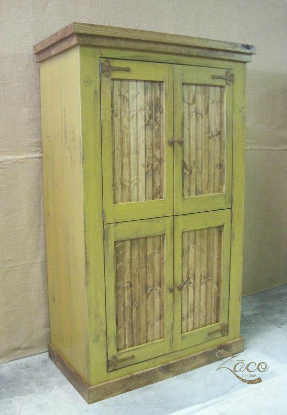 Huge 4 Door Storage Armoire/ Wardrobe In Gold By ZacoCreations, $1095.00
