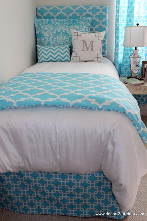 dorm bedding bright blue designer teen dorm bed in a bag