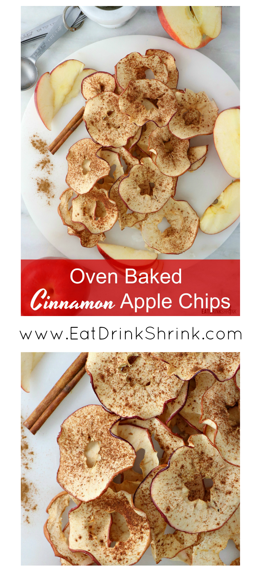 Vegan Baked Cinnamon Apple Chips - Eat. Drink. Shrink.