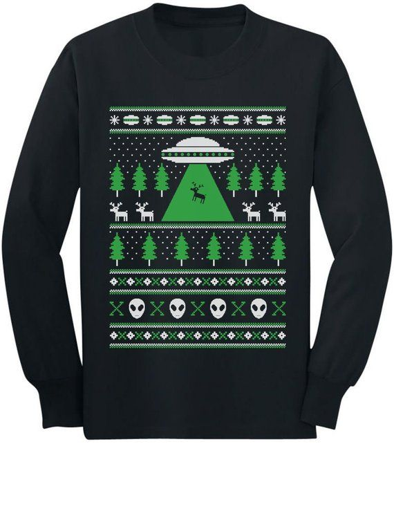 Alien Reindeer Abduction Ugly Christmas Sweater Youth Long Sleeve T