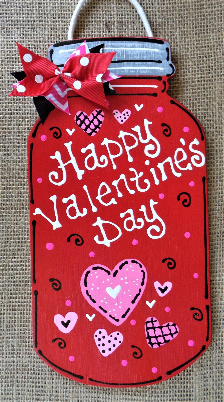 HAPPY VALENTINE'S DAY Mason Jar Sign Wall Door Hanger Hangin…