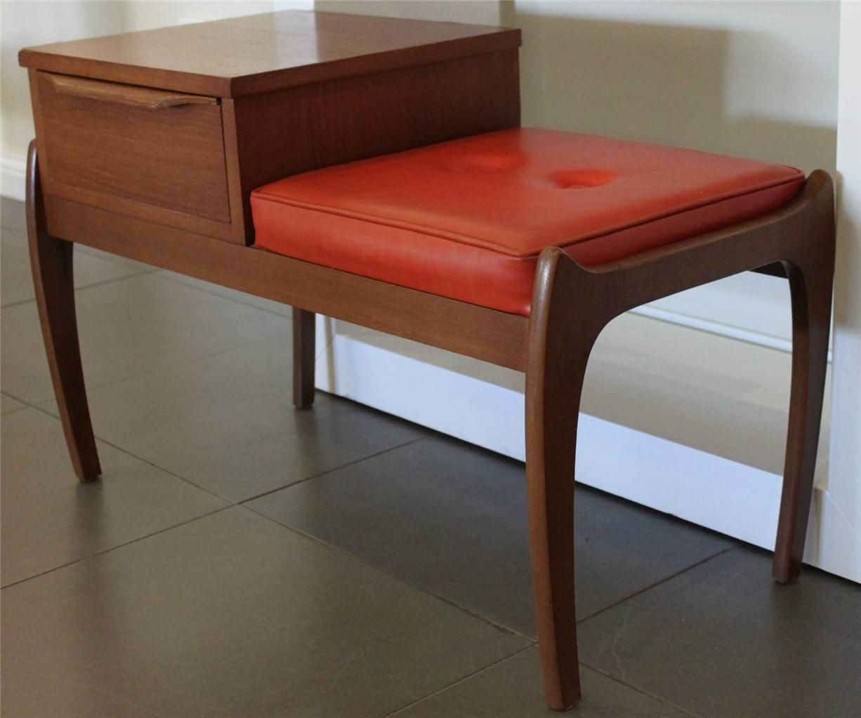 60s Style Furniture vintage retro 60's danish style teak telephone table eames era mid