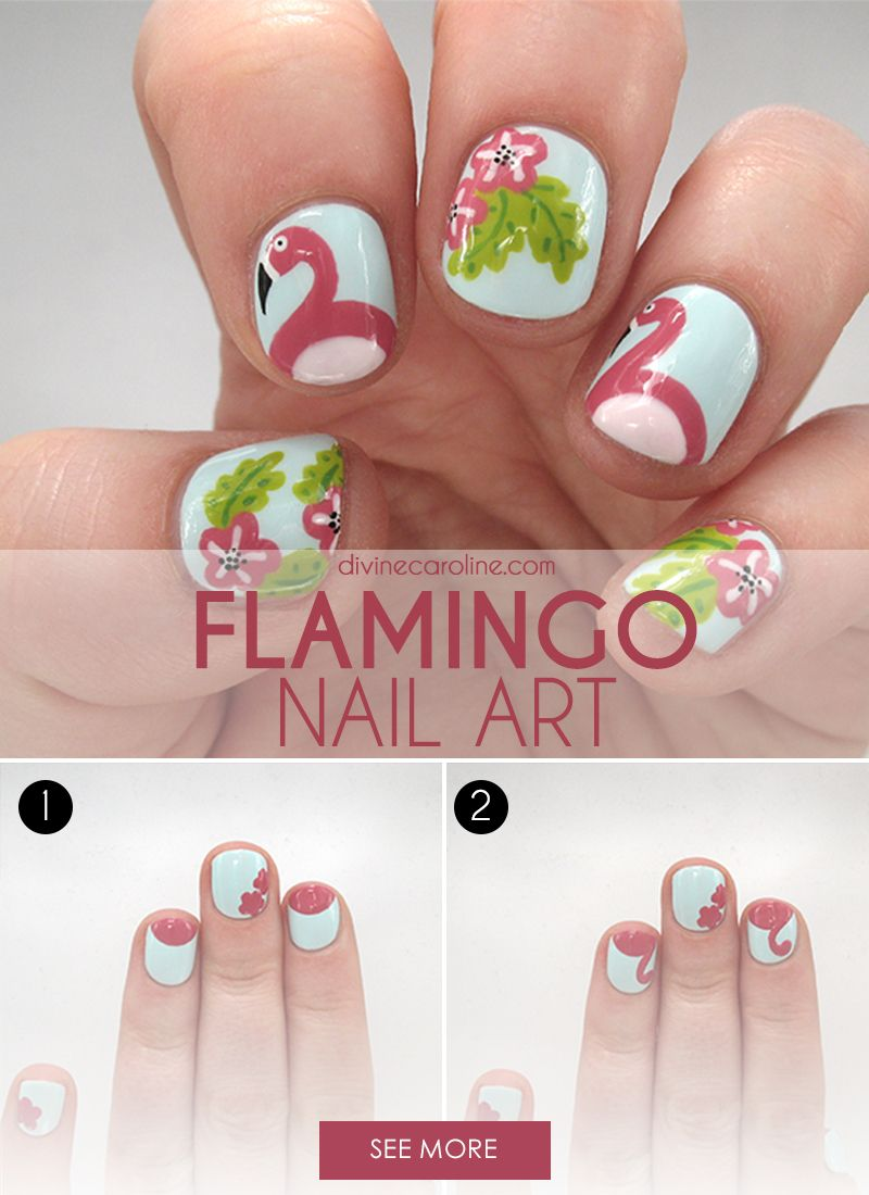 Make your nails look extra cute this season with this fun flamingo nail art. ce125d399