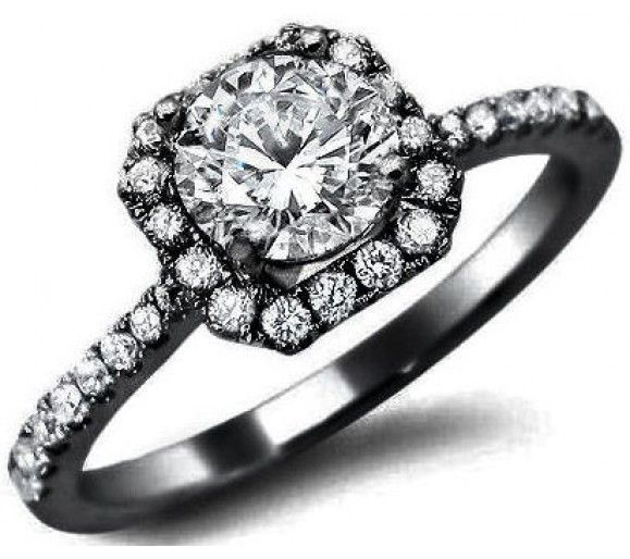 1.02ct Round Diamond Engagement Ring 18k Black Gold / Front Jewelers. God I love the black gold!