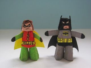 Jumble Tree: Batman and Robin - Superhero crafts for kids. Both made from egg carton cones. #superherocrafts
