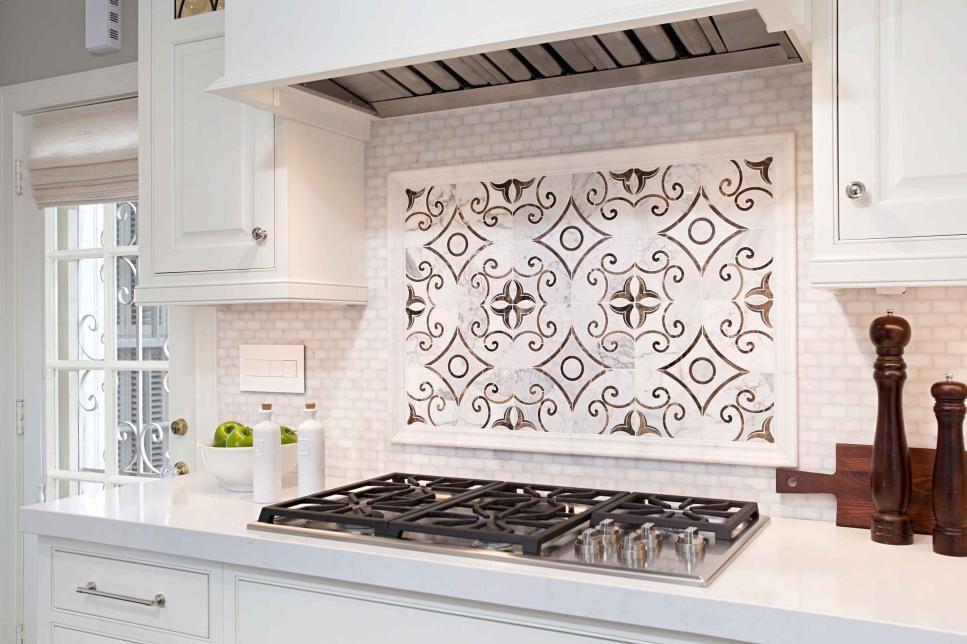 Decorative Black And White Kitchen Stove Backsplash Panel Over White Tile Stove Backsplash Kitchen Backsplash Designs Stove Decor Decorative tiles for kitchen backsplashes