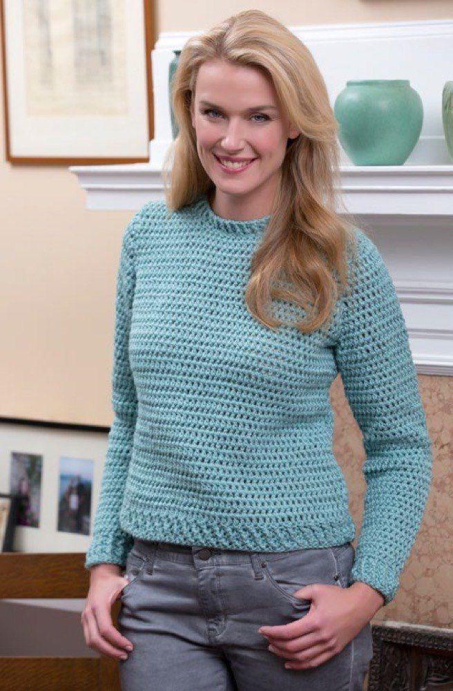 Crochet Crew Sweater In Red Heart Soft Solids Lw4110 Crochet