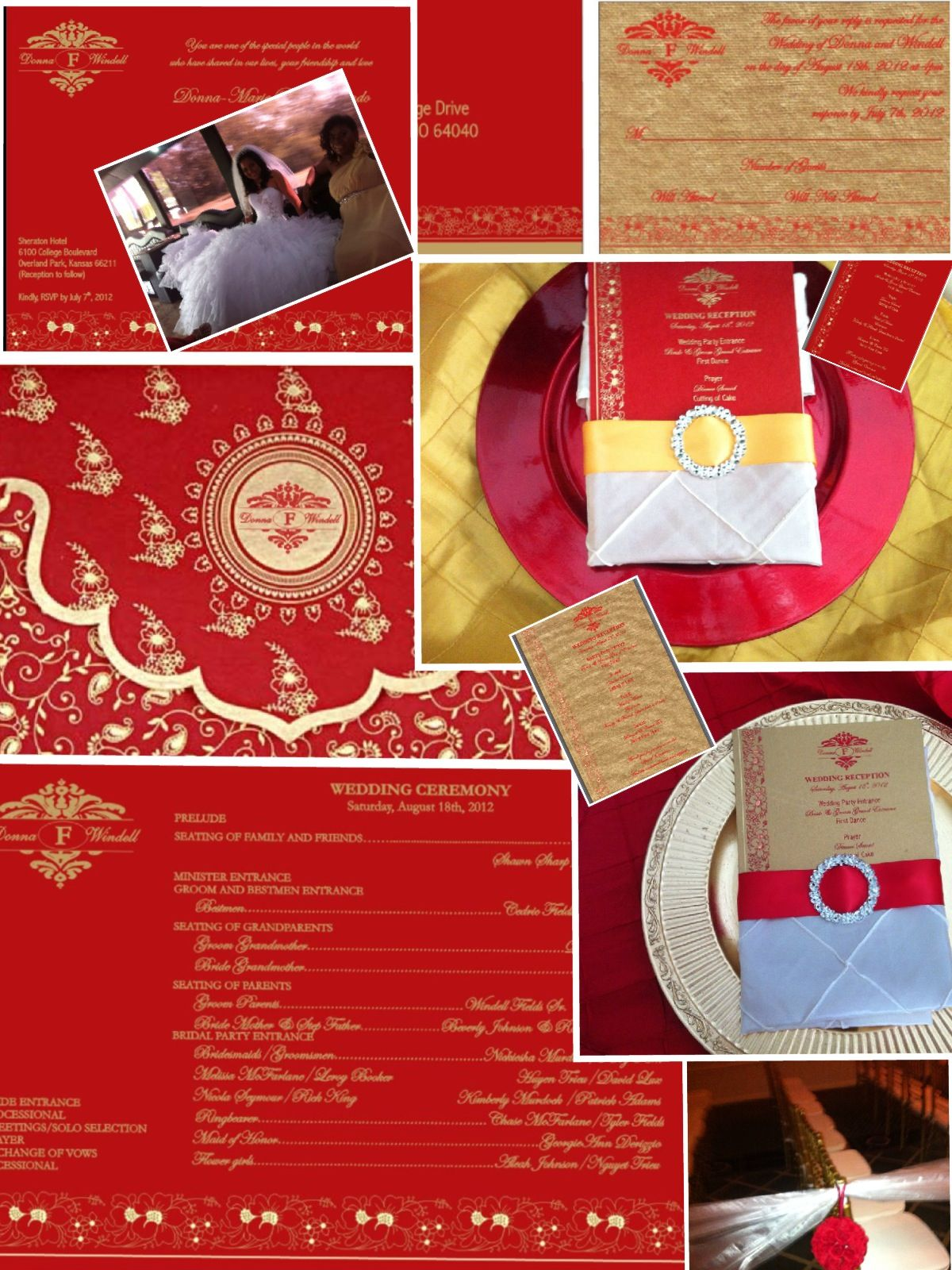 red and gold wedding cards with matching menu cards and