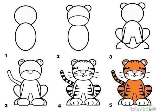 Apprendre a dessiner un tigre how to draw dessins faciles pinterest dessiner dessin - Comment dessiner un tigre ...
