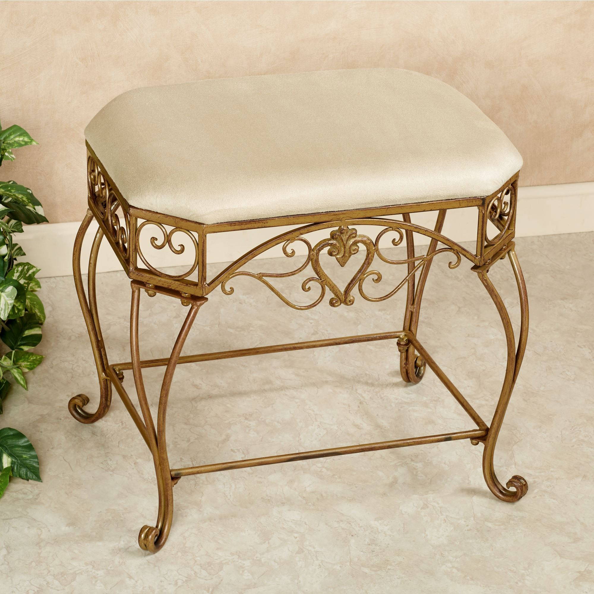 Aldabella Satin Gold Upholstered Vanity Bench Vanity Bench