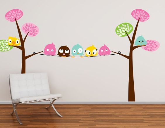 Decoracion con buhos para ni as 13 pegatinas de pared for Pegatinas pared nina