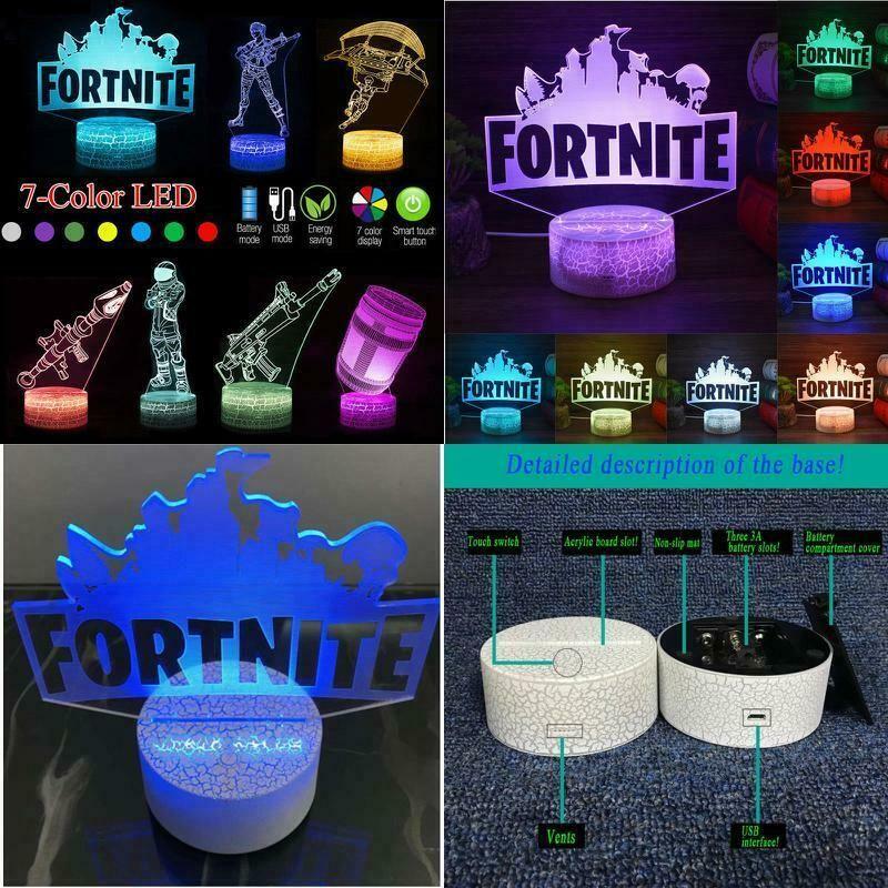 3d Lamp Fortnite Sign Led Night Light 7 Colors Usb Touch Remote Desk Lamp Gifts Fortnite Fortnitebattleroya Motion Activated Light Desk Gifts Led Night Light