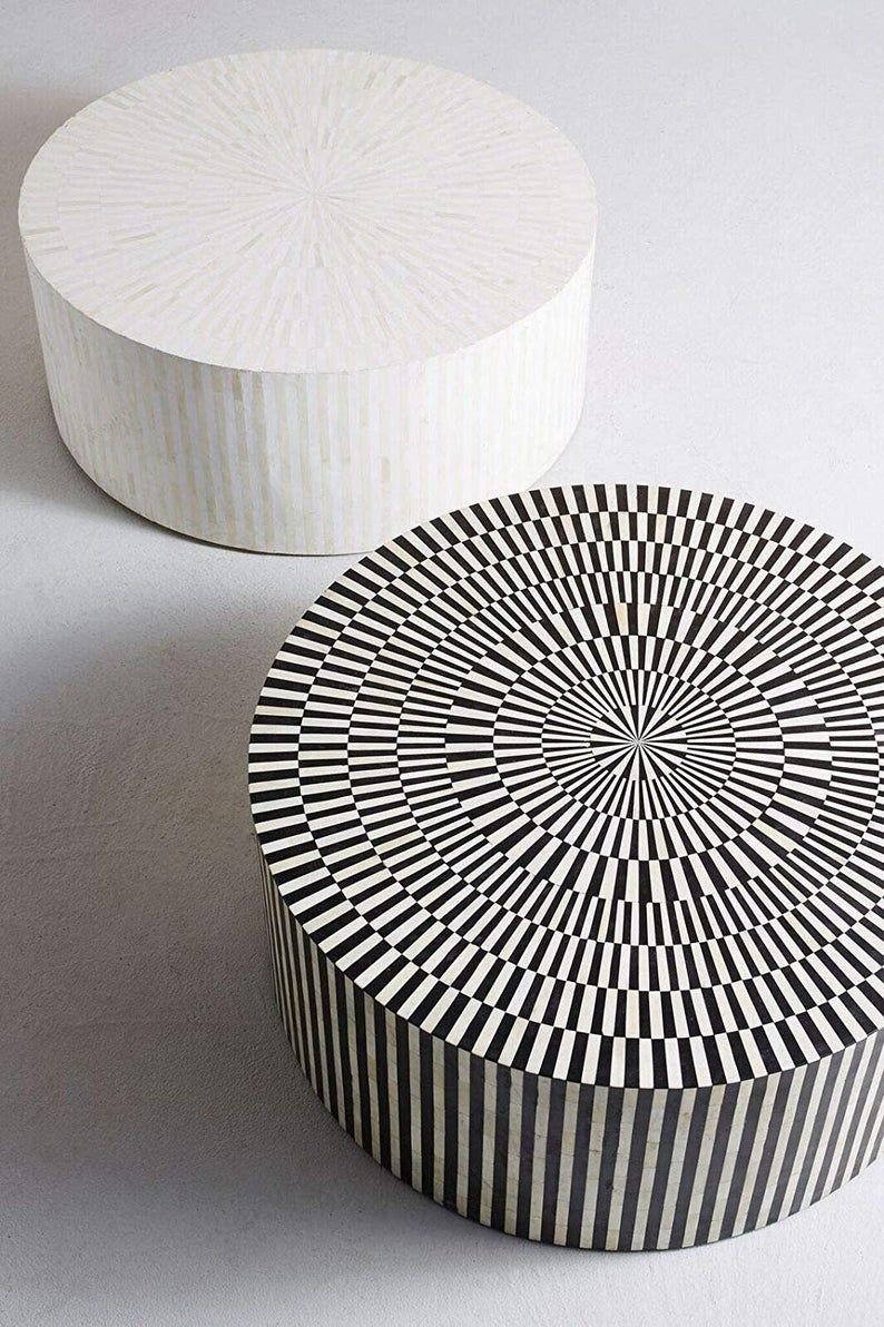 Striped Bone Inlay Coffee Table in Black/White in 2020