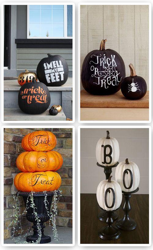 Calabazas de Halloween pintadas http://cocktaildemariposas.com/2014/10/27/decoracion-calabazas-halloween