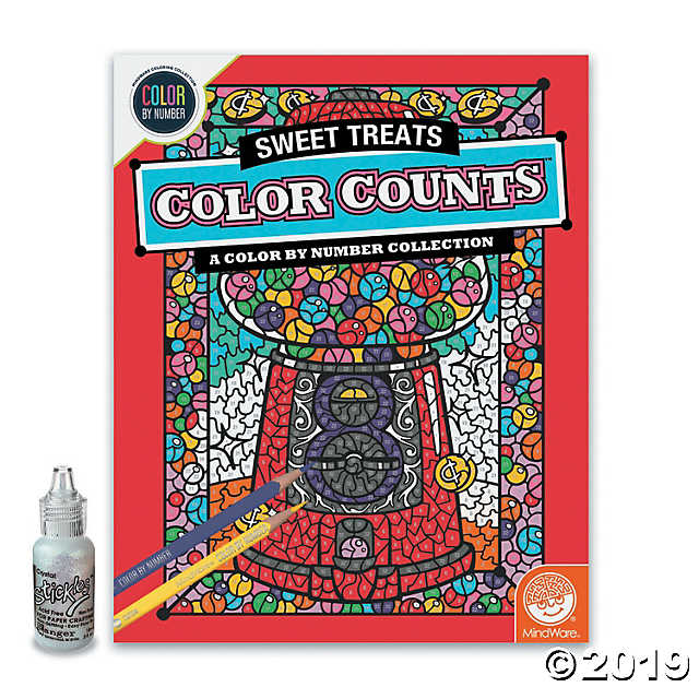 Color By Number Color Counts Glitter Sweet Treats Mindware Coloring Books Sweet Treats Colored Pencil Set