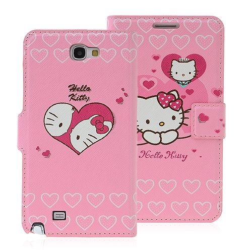 Cute Pink Hello Kitty Wallet Case For Samsung Galaxy Note