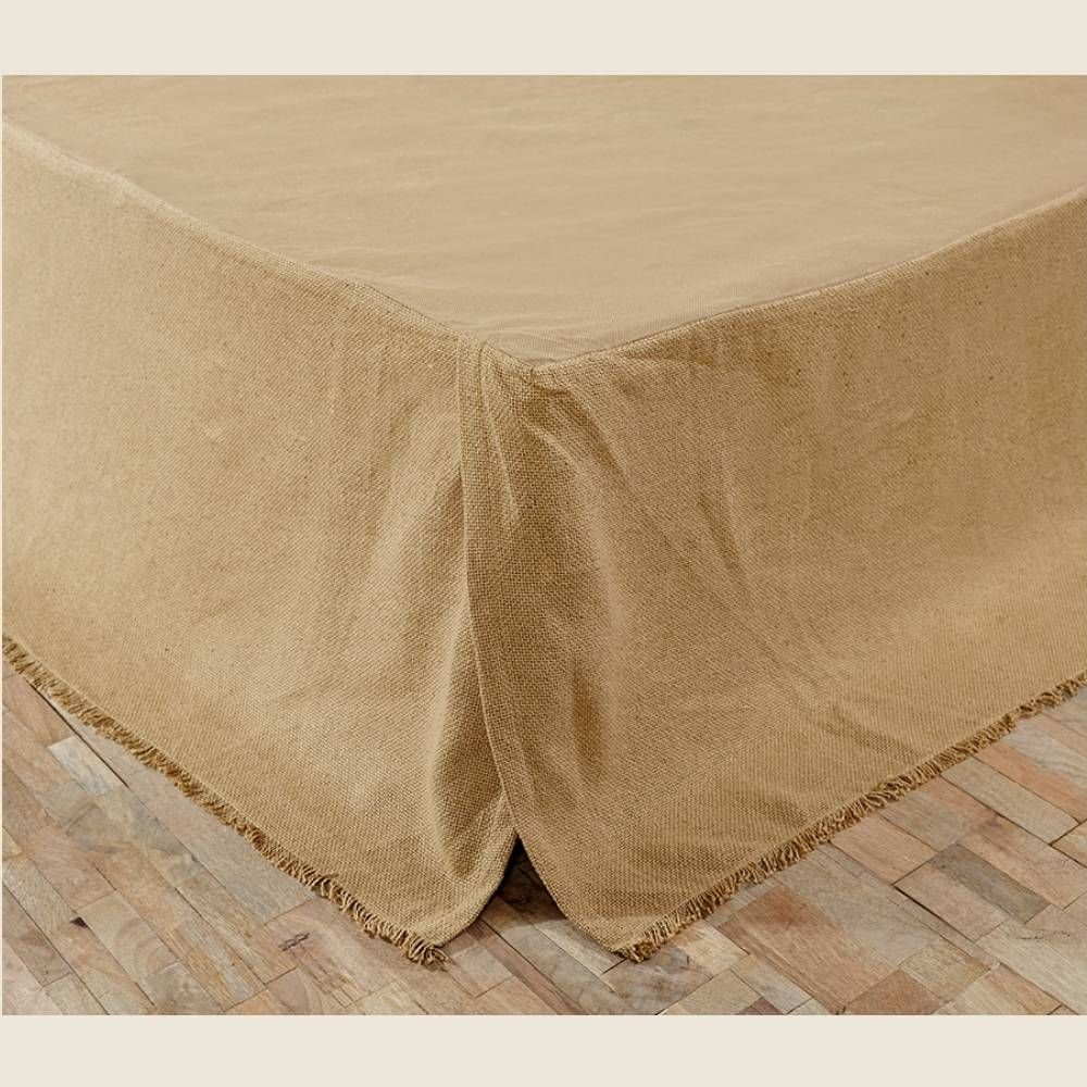 "This tailored bed skirt with a fringed hem adds rustic or primitive country style to any bed. It's natural color blends easily with many of our bedding options. Made of 100% soft cotton burlap. For a Twin size mattress with a 16"" drop. Also available in Queen or King. #country #bedroom #bed #skirt"