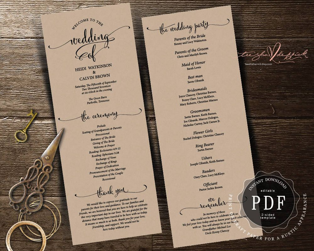 wedding planning checklist spreadsheet free%0A We do Wedding Program Card Instant Download Editable PDF Template  Kraft   rustic Wedding