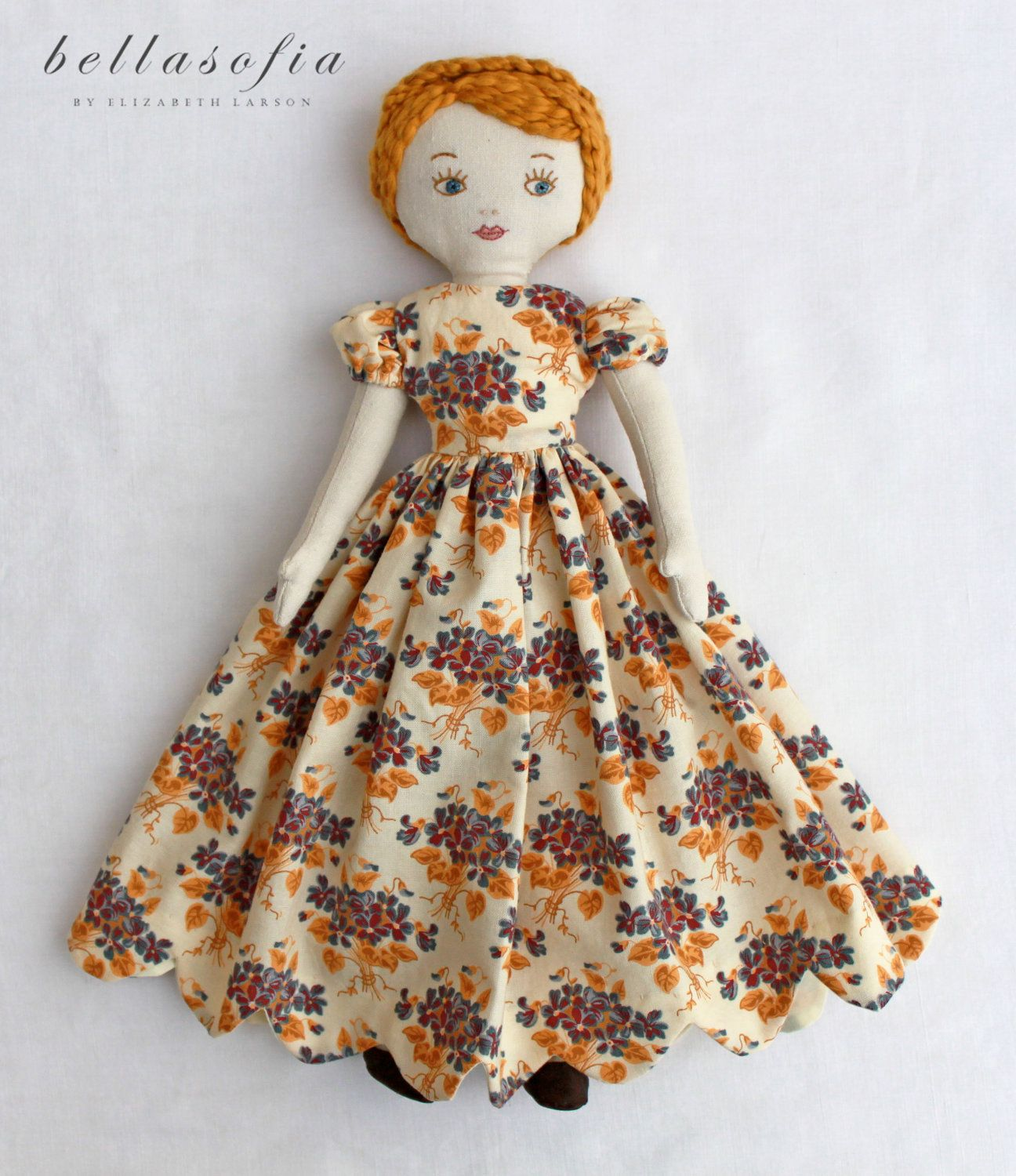 """a bellasofia beauty """"Violet"""" heirloom quality vintage inspired rag doll - Absolutely stunning!"""