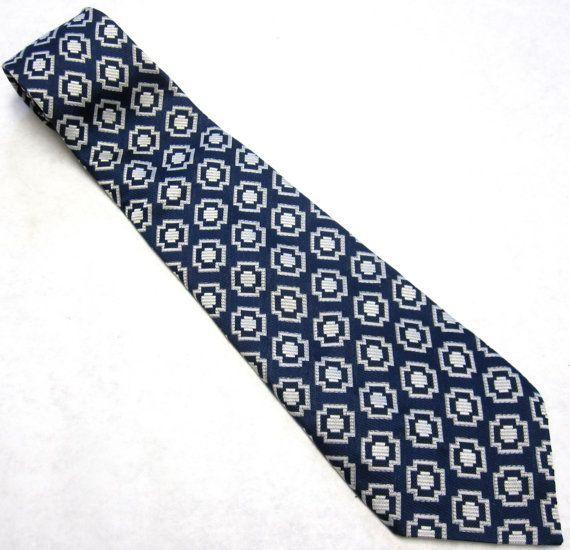 Vintage Necktie Navy Blue Gray Stripe Wide Tie by sweetie2sweetie, $7.99