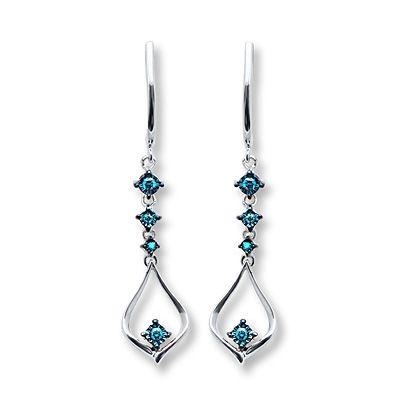 9b9a086a8 Blue Diamond Earrings 1/8 ct tw Round-cut Sterling Silver-- kay ...