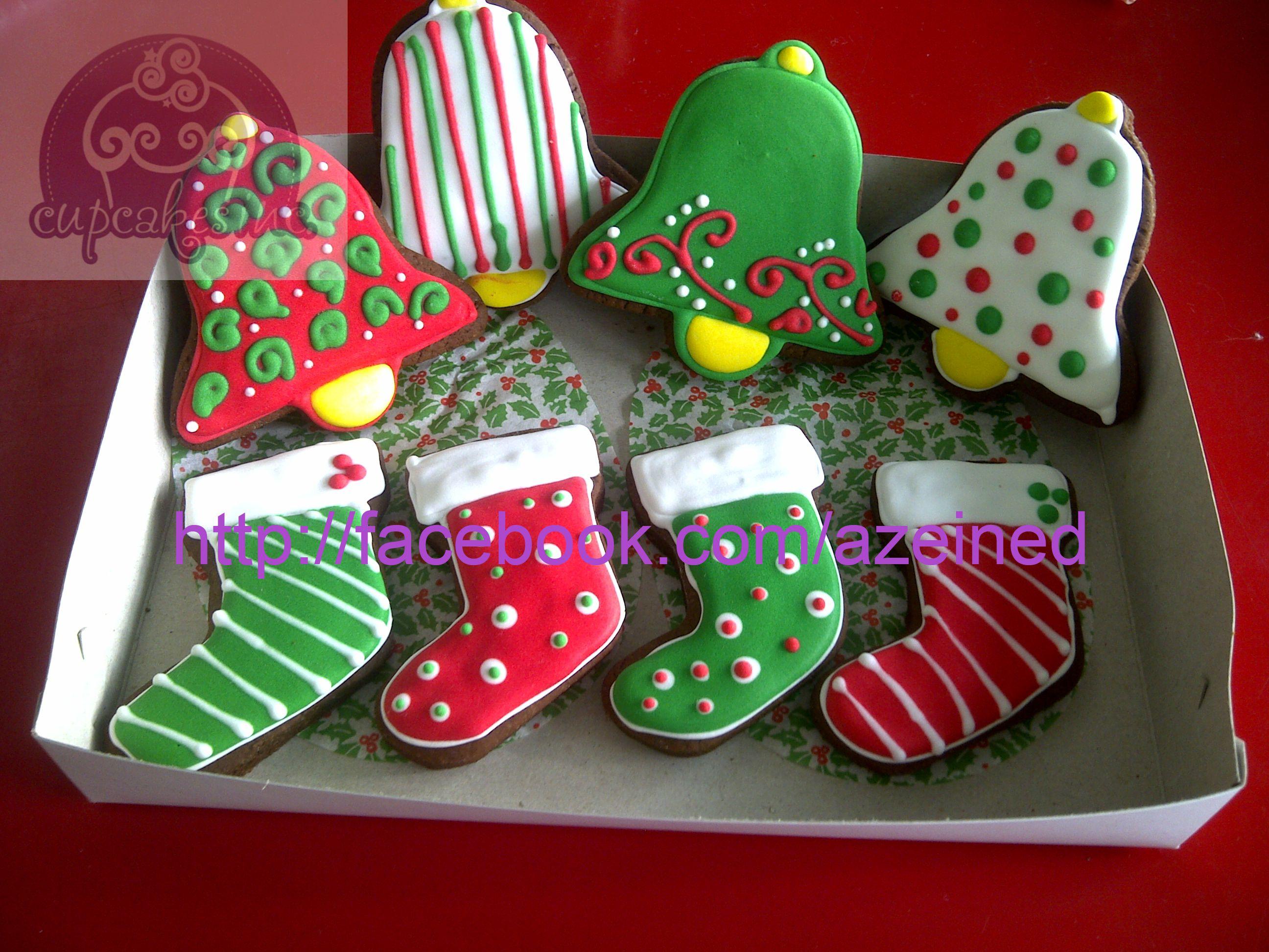 Christmas Stocking And Christmas Bell Cookies