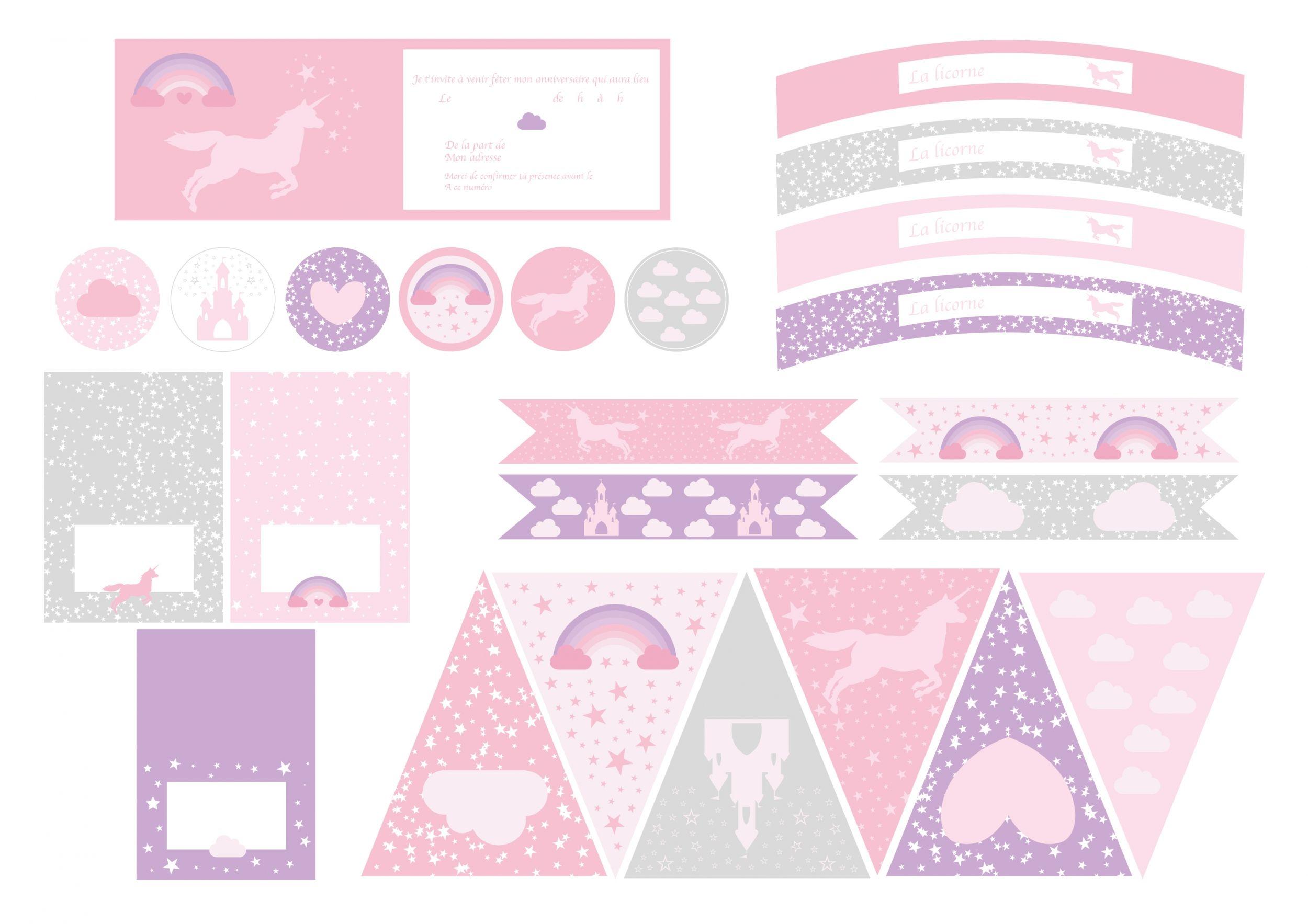 printable anniversaire licorne deco anniversaire licornes et anniversaires. Black Bedroom Furniture Sets. Home Design Ideas