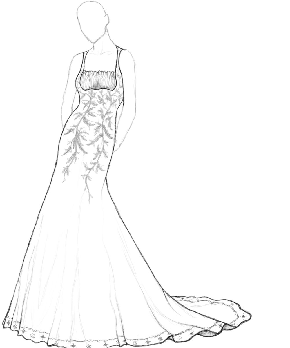 coloring pages gowns Wedding