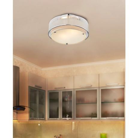 Possini Euro Design Double Organza 16 Wide Ceiling Light Bathroom