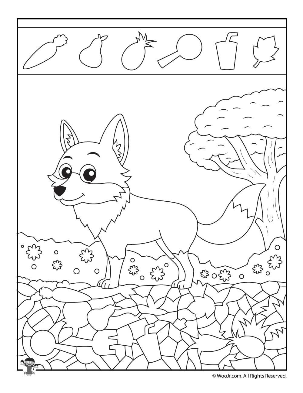 easy hidden pictures with animals printable activity pages foxes hidden pictures hidden. Black Bedroom Furniture Sets. Home Design Ideas