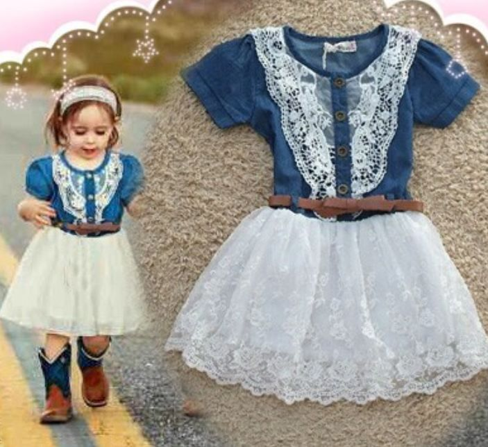 73d96f99b43 New Style Girls Denim Dress for Girls- Cowgirl Western Style Toddler Girls  Denim Tutu Dress Denim Floral Dresses
