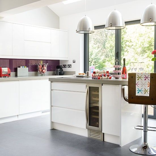 White And Purple Kitchen Kitchen Decorating Ideal Home Decor And