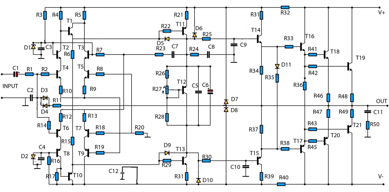 1400w High Power Audio Amp Schematic Electronics