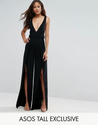 b5973c1a42 ASOS TALL Plunge Wide Leg Jumpsuit with Split Front