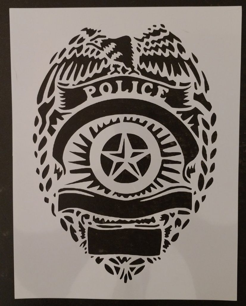 Police Badge Custom Stencil Custom stencils, Stencils