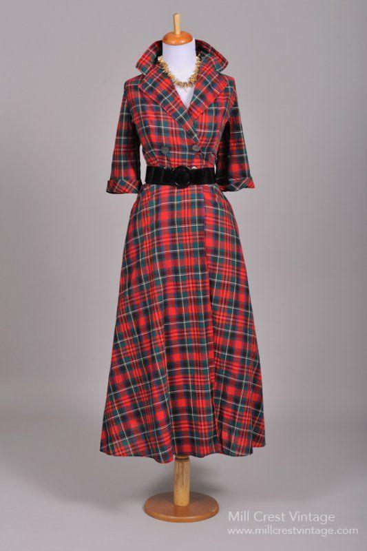 025654f869fa 1950 s Cotton Plaid Vintage Coat Dress Robe Écossaise
