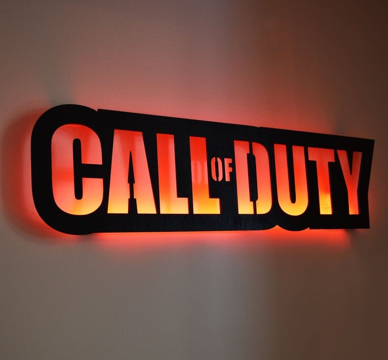 40 Led Lighted Call Of Duty Inspired Wall Art Cod Video Game Art Game Room Decor Sign Gift Xbox Playstation Color Changing Remote In 2021 Game Room Decor Video Game Room