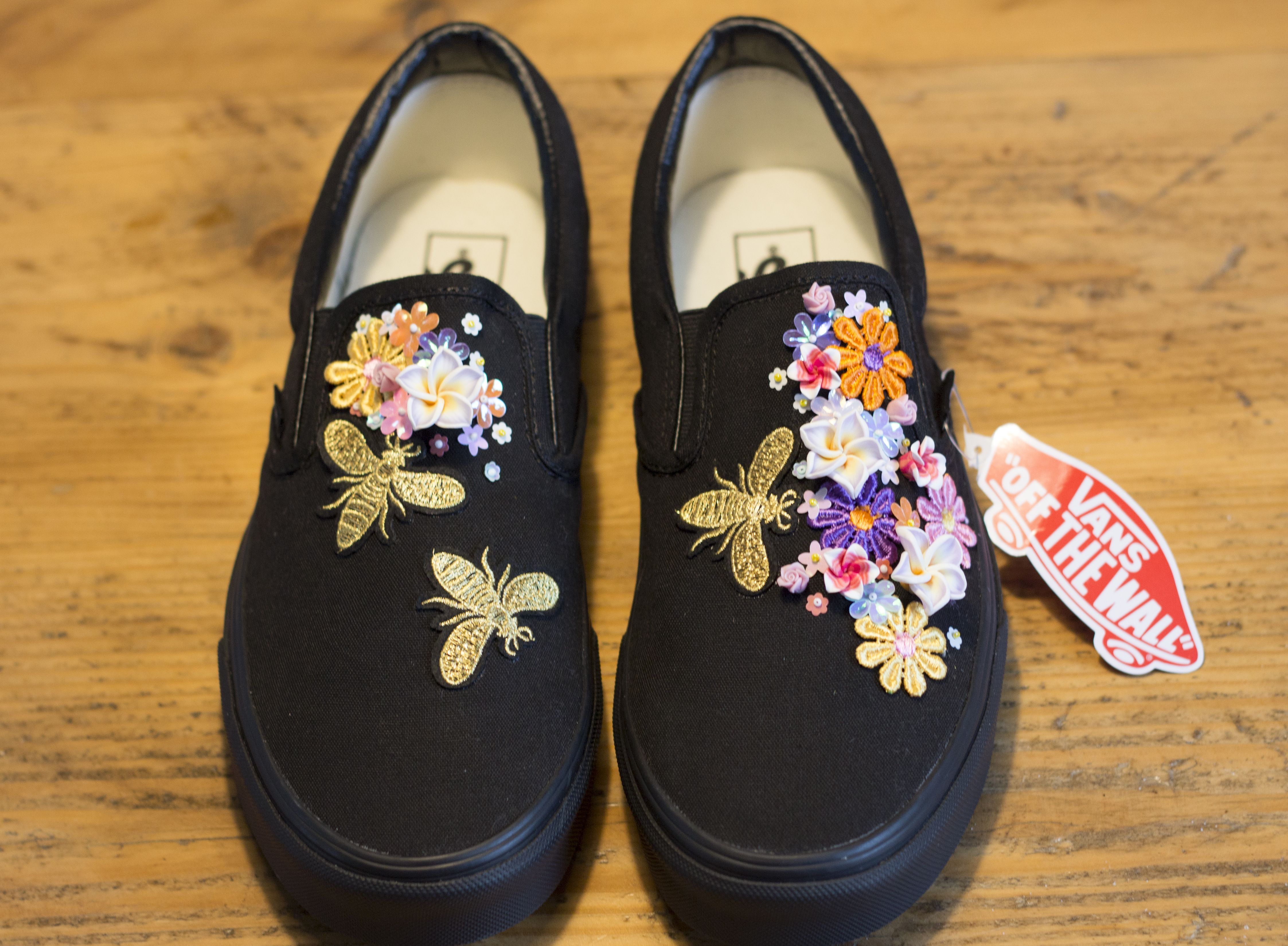 BEES KNEES, Black slip on Vans with bees and sequin flowers