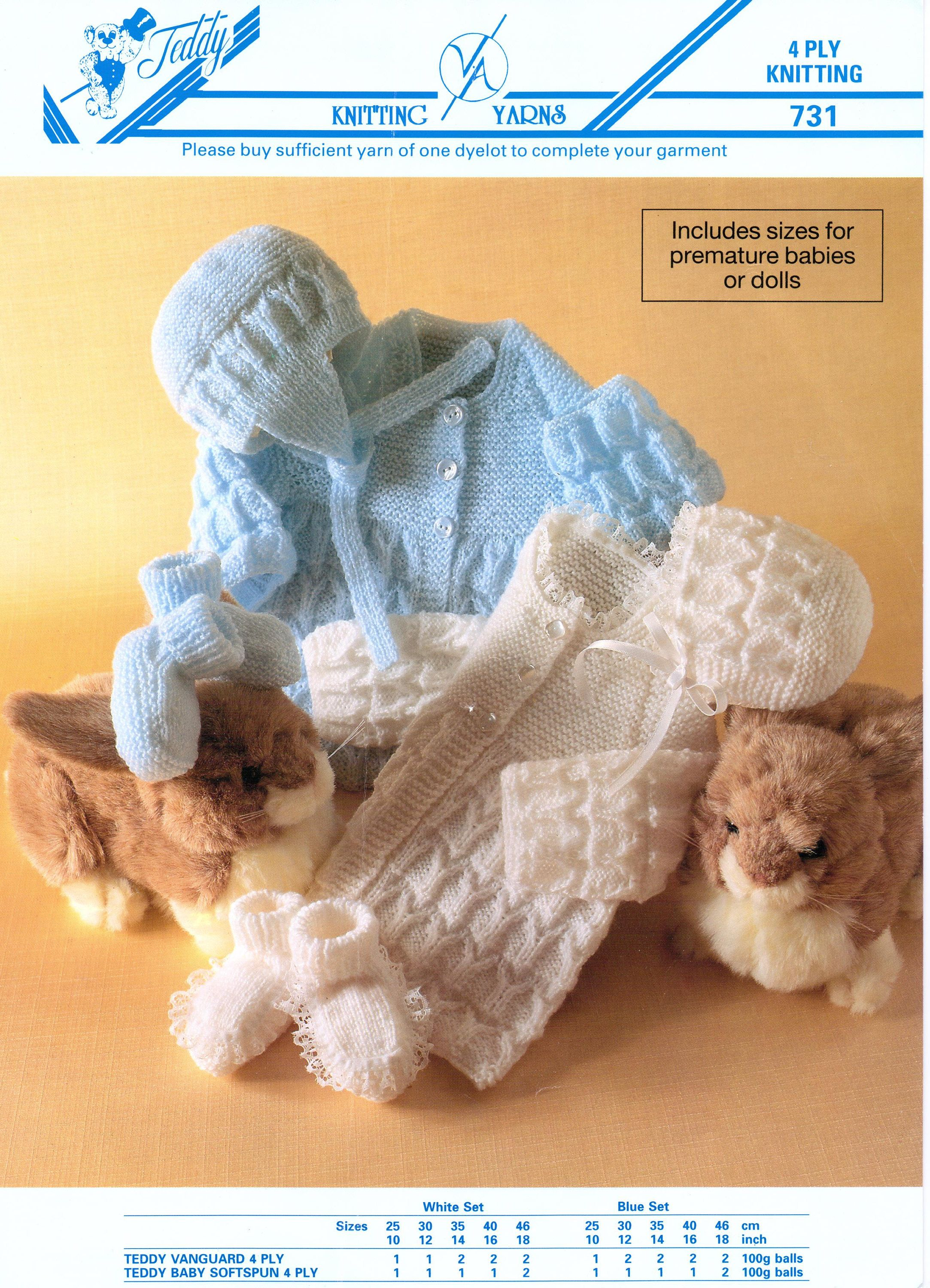 49a54403c Baby Dolls Knitting Dolls Patterns Outfit Cardigan and Matinee Set ...