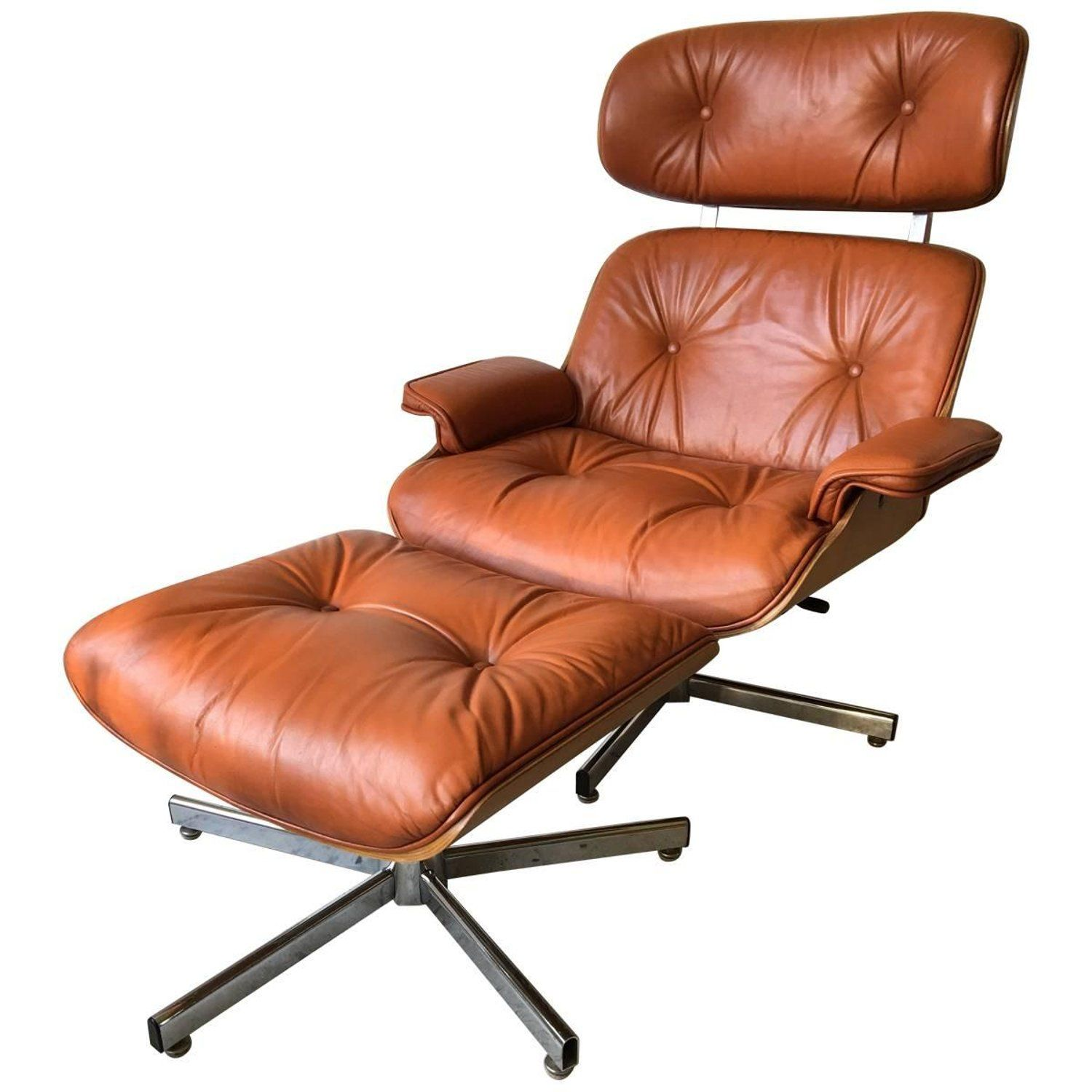 Vintage Italian Eames Style Lounge Chair Ottoman Set in
