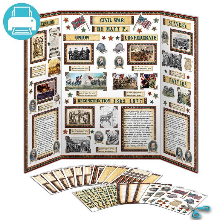 American Civil War Poster Project Made Using School Printable Kit Tri Fold Board Decorated With Writing