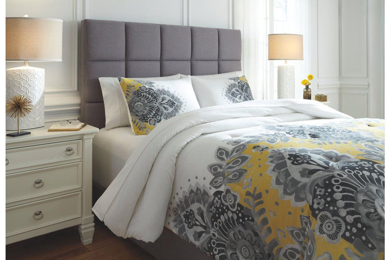 Maryland 3 Piece King Comforter Set Gray Yellow King Comforter